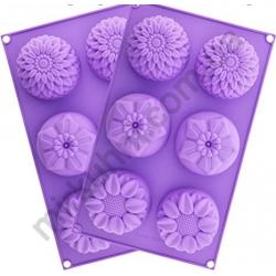 """Форма для кексов на листе """"Цветок""""- силикон (6шт.) № 1105"""