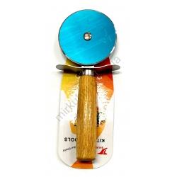 Нож для пиццы - ролик - ручка - дерево №1319